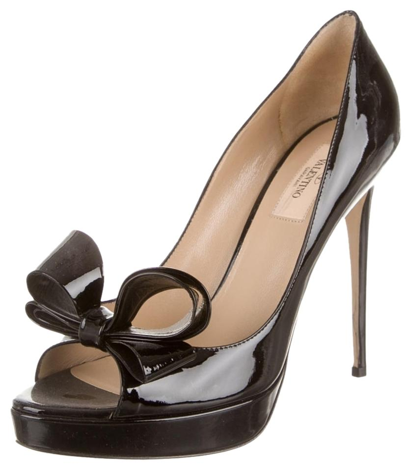 8a766015e33b Valentino Black Patent Leather Bow Peep-toe Platform Stiletto New 39.5 Pumps
