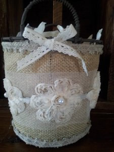 Precious Burlap & Lace Flower Girl Basket