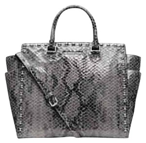 Michael Kors Satchel Python Selma Tote in gray