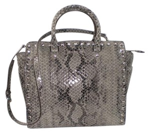 Michael Kors Satchel Python Selma Studded Leather Tote in gray