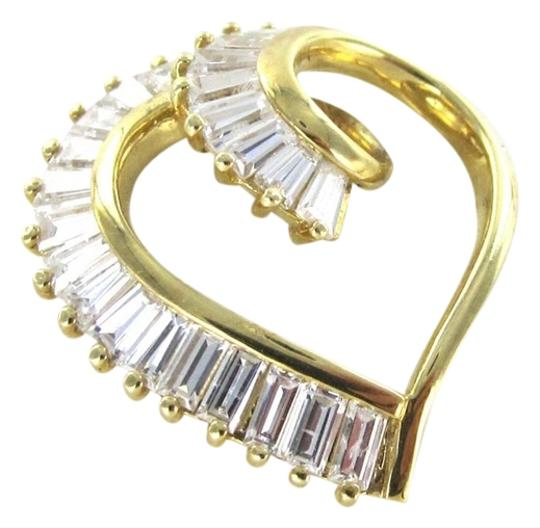 Other 14K SOLID YELLOW GOLD HEART PENDANT VALENTINES LOVE 3.5 GRAMS ESTATE WHITE STONE