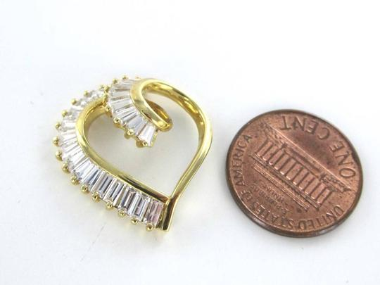 Other 14K SOLID YELLOW GOLD HEART PENDANT VALENTINE'S 3.5 GRAMS WHITE STONE