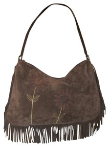Berge Leather Suede Fringe Hobo Bag