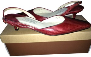 Talbots Lizard-embossed Slingback Red Pumps
