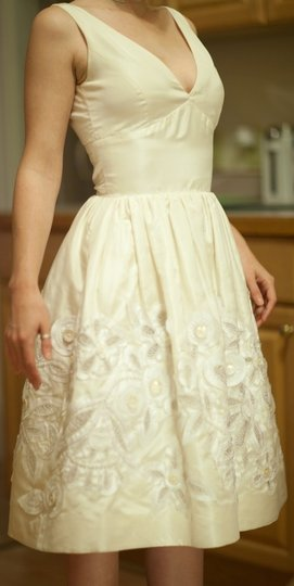 Oscar de la Renta Ivory Silk 82e08 Vintage Wedding Dress Size 0 (XS)