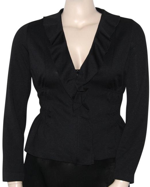 Sunny Leigh Ruched Waist Ruffled Front Zipper Front. Fitted Cardigan