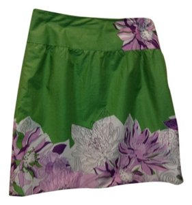 Ann Taylor LOFT Cotton Lined Floral Skirt Green