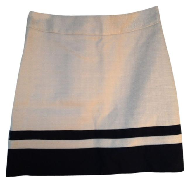 Ann Taylor LOFT Nautical Stripe Mini Skirt Beige and Navy Blue