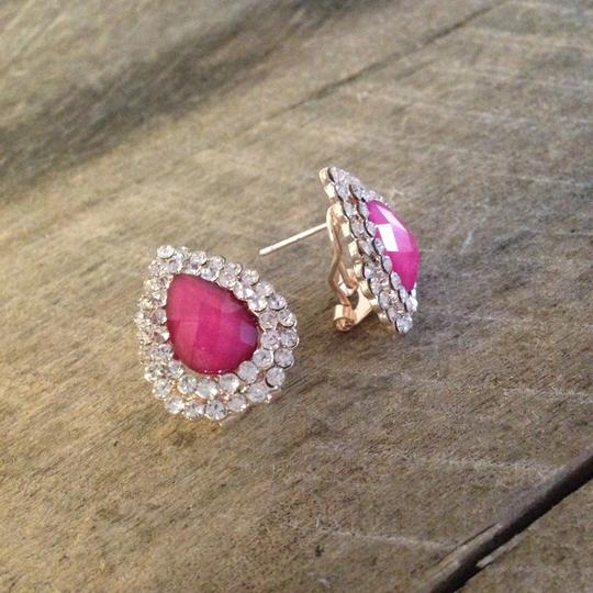 Other Dazzling Pink & Rhinestone Pave Pear Earrings