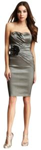 Romeo & Juliet Couture Wedding Guest Flower Pewter Cocktail Dress