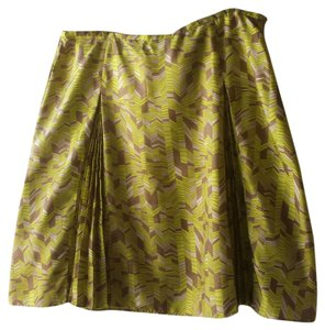 Bill Burns Signature Silk Pencil Tea Length Skirt neon green
