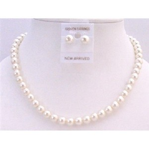 Cream Pearl Pearl Stud Earrings Necklace Jewelry Set