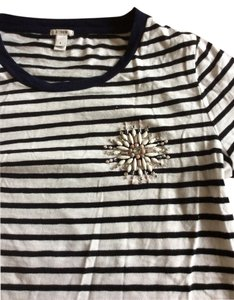 J.Crew T Shirt White and Navy Striped