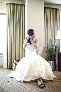 Priscilla of Boston Ivory Satin Gown with Beaded Lace Appliques On An English Netting Overlay Mischa Feminine Wedding Dress Size Petite 0 (XXS)