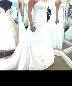 Modified A-line Beaded Appliques Semi-cathedral Sweetheart Neckline And Empire Waist. Wedding Dress