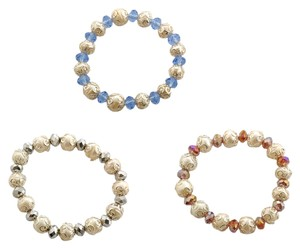 Unknown Glass, Freshwater Pearl Set of 3 Bracelets