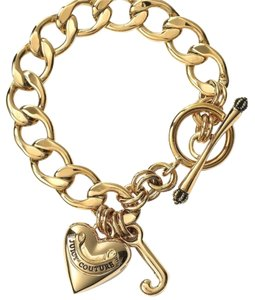 Juicy Couture Juicy Couture Gold Pave Heart Charm Bracelet