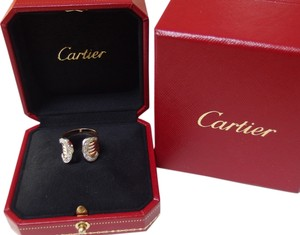 Cartier Rare and Auth. Cartier Trinity Double C Diamond Ring 18k with boxes US size 5