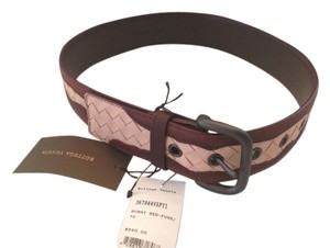 Bottega Veneta BOTTEGA VENETA NWT BURNT RED FUME CONTRAST LEATHER BELT (SIZE SMALL 28)