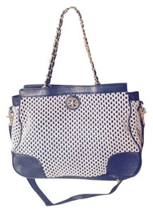Tory Burch Tote in Navy With Natural Straw