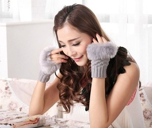 Faux Fur Fingerless Winter Knit Gloves Free Shipping