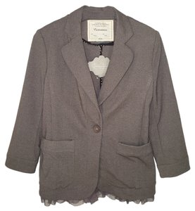Anthropologie Ruffled Jacket Knit Blazer