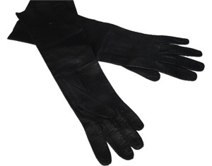 Vintage-Past-The- Black -Leather gloves-long. Made in Italy.