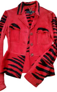 Just Cavalli Suede Red Suede Jacket