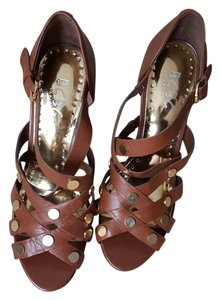 BCBG Paris Brown Gold Studs Cognac Sandals