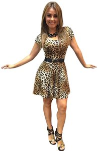 short dress Brown and black Leopard Print on Tradesy