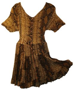 American Angel short dress Brown, Black, Gold, Snake Skin Pattern Vintage Crinkled Rayon No Iron on Tradesy