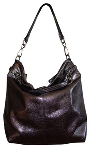 Coach Metallic Brown Handbag Brass Huge Leather Satchel Chain Shoulder Bag