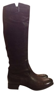 Prada Italian Leather Designer Riding Italian Leather Dark Brown Boots