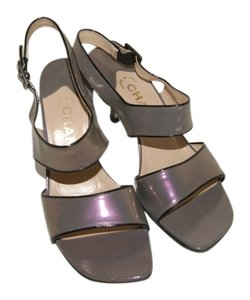 Chanel Patent Leather Iridescent Grey Sandals
