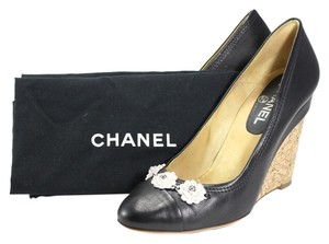Chanel Leather Camellia Flower Black Wedges