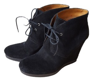 Nine West Wedge Heels Suede Lace Up Black Boots