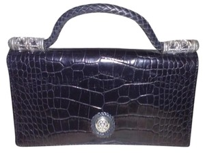 Brighton BRIGHTON Croc Embossed and Pebbled Leather ORGANIZER Braided Handle