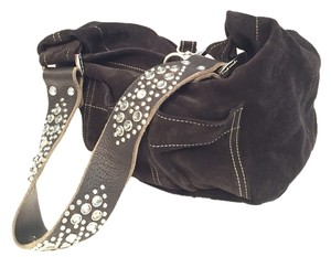 Tylie Malibu Studded Crystals Suede Hobo Bag