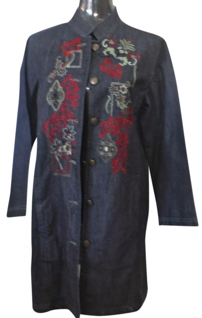Item - Classic Blue Denim with Embroidery Mandrin Coat Size 10 (M)