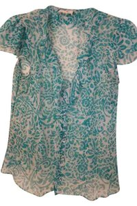 MILLY Sheer Ruffle Top turquoise