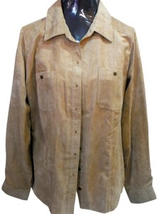 Croft & Barrow Western Boho Southwest Button Down Shirt beige suede like