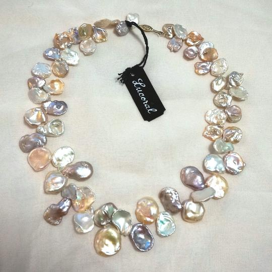 Lucoral NWT LUCORAL 14k Gold Cultured Blister Keshi Pearl Bead Necklace Cream Peach Pink