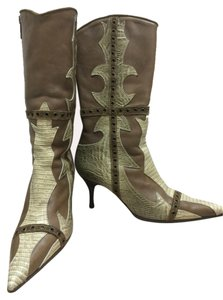 Just Cavalli Snake Print Leather Boots