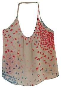 Forever 21 21 Polka Dot Dot Summer Warm Weather Sheer Sexy Cross Back Top Off White