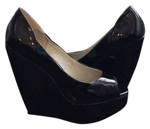London Rebel Patent Leather Peep Toe Wedges