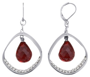 Unknown Red Glass Lever Back Earrings
