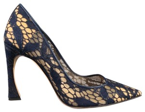 Dior Raf Lace Pointy Navy Pumps