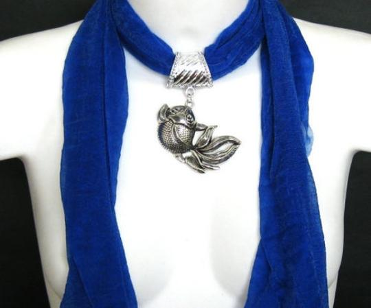 unknown BOGO Free Royal Blue Goldfish Jeweled Scarf Free Shipping