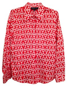 Jones New York Button Down Shirt red and white