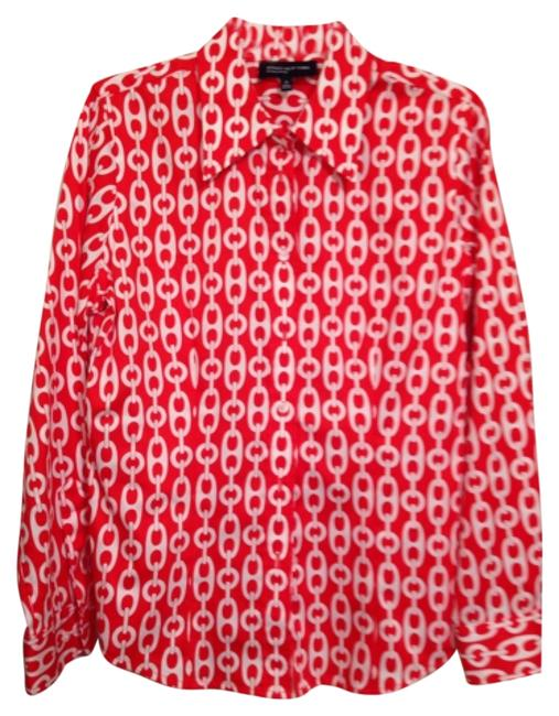 Jones new york red and white pattern button down shirt for Red and white button down shirt